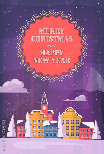 merry christmas and happy new year winter holiday post card with small city at night next