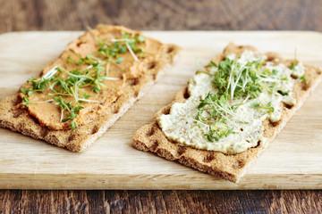 Crispbread with bread spreads