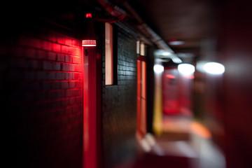 Hallway of seedy motel