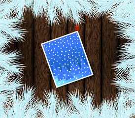 Christmas Fir and Card Pinned on Wood