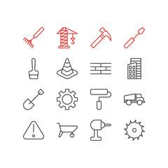 Vector Illustration Of 16 Industry Icons. Editable Pack Of Cogwheel, Handcart, Spade Elements.