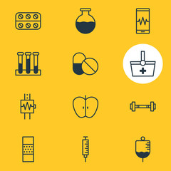 Vector Illustration Of 12 Medicine Icons. Editable Pack Of Antibiotic, Band Aid, Antibody Elements.