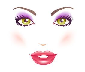woman's face with makeup.