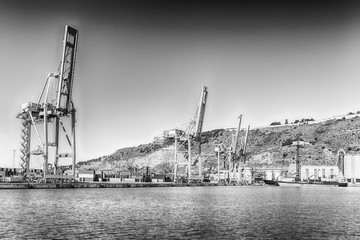 Container cranes at the commercial port of Barcelona, Catalonia, Spain