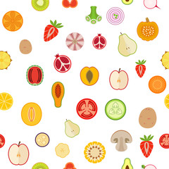 Seamless background with fruits and vegetables on white background. Flat design. Vector illustration