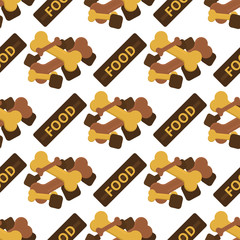 Dog chew bone care biscuit animal food puppy canine seamless pattern background vector illustration.