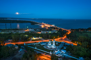 Fototapete - City at night, panoramic scene Novosibirsk Russia