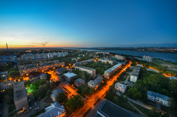 Wall Mural - City at night, panoramic scene Novosibirsk Russia