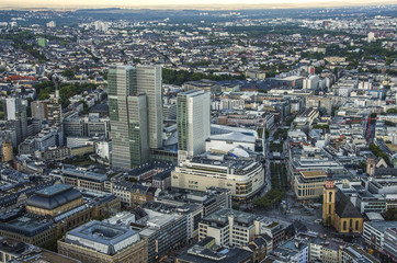 Modern skyline of Frankfurt, Germany financial business district.