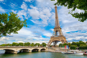The Eiffel Tower and the river Seine on a summer day in Paris
