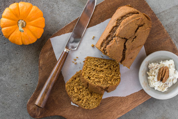 Pumpkin Bread Slices with honey walnut butter