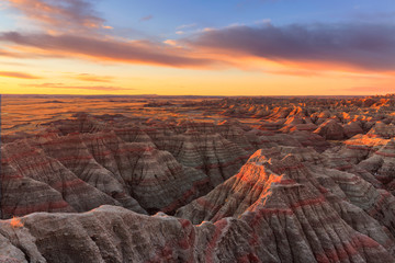 The sun rises over Badlands National Park, South Dakota Wall mural
