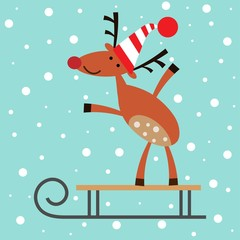 Vector illustration of a deer on a sleigh on a snow background