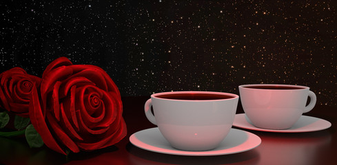Romantic coffee drinking for two, red with roses.