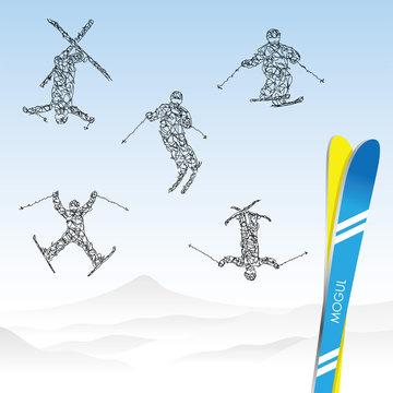 雪山とスキー選手