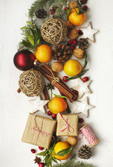 Christmas holiday decoration and gifts, top view