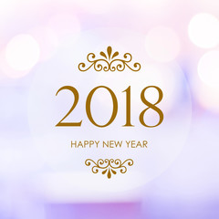 Happy New Year 2018 on blur abstract bokeh background, new year greeting card, banner