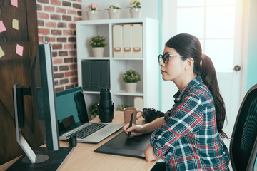 young beautiful female photo company office worker