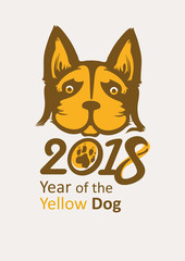 Stylish poster of 2018 Yellow Dog. Year of the Dog on the Chinese calendar.