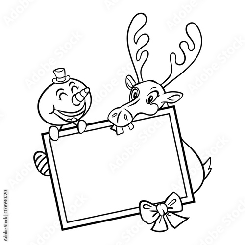 Snowman And Reindeer Holding A Board Cartoon Coloring Book Stock