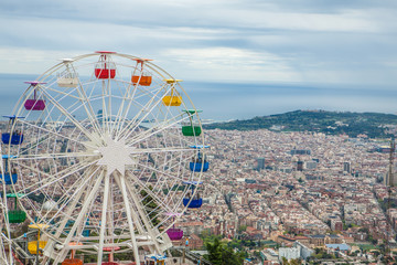 The Ferris wheel from the Tibidabo mountain, Barcelona, Spain