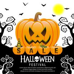 Halloween sale offer poster design concept