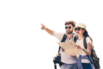Fototapeta Multi ethnic couple look at map while pointing finger in the direction of destination. Travel concept. Honeymoon trip, backpacker tourist, Asia tourism or holiday vacation travel concept. Isolated. obraz