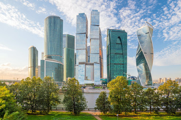 Modern skyscrapers of Moscow city skyline