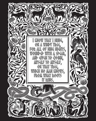 Vintage engraving. The Tree of Life in Norse mythology, animals and humans, the serpent and the sayings of the Norse God Odin