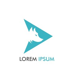 Simple Wolf inside Arrow Icon Logo Design and Concept Vector Illustration for identity, brand, label, emblem in flat trend design