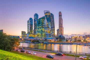 Modern skyscrapers of Moscow city skyline at twilight
