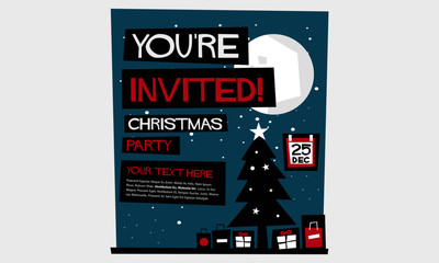 You're Invited! Christmas Party (Flat Style Vector Illustration Holidays Quote Poster Card Design) With Text Box Template