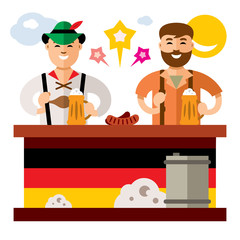 Vector People at the Beer Festival in Germany. Flat style colorful Cartoon illustration.