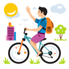 Vector Boy on Bike. Flat style colorful Cartoon illustration.