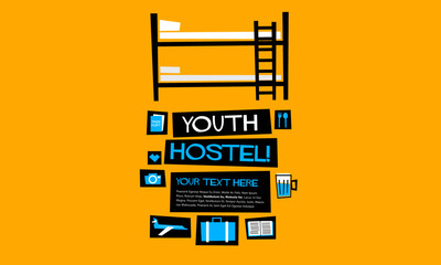 Youth Hostel (Flat Style Vector Illustration Quote Poster Design)