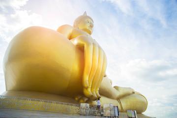 Man pay big buddha in Wat Muang at Ang Thong Province.
