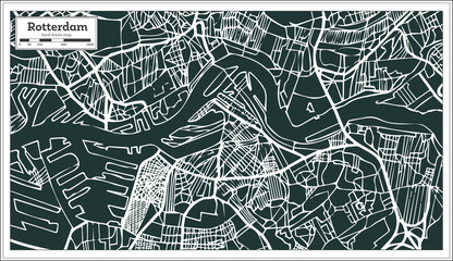 Rotterdam Map in Retro Style. Hand Drawn.