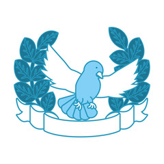 emblem with peace dove and wreath of leaves icon over white background vector illustration