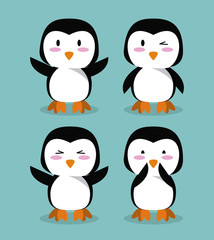 Cute penguin cartoon icons icon vector illustration graphic design