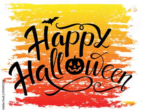 Happy halloween vector lettering design with bat and pumpkin happy halloween vector lettering design with bat and pumpkin holiday calligraphy for poster banner stopboris Gallery