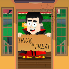 Halloween greeting card. Kid dressed as vampire, standing in a door with a trick or treat banner.