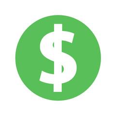 Dollar icon vector green simple