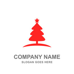 Red Pine Tree Christmas Logo Vector
