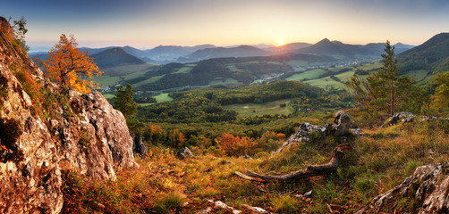 Wall Mural - Autumn mountain panorama landcape with forest at sunset