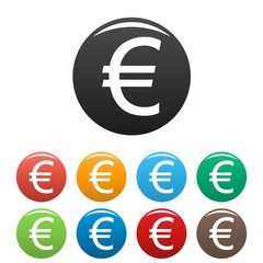 Euro symbol icons set vector