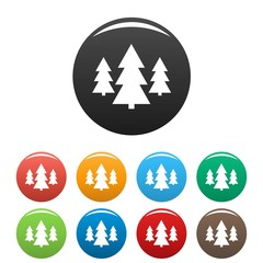 Forest icons set vector