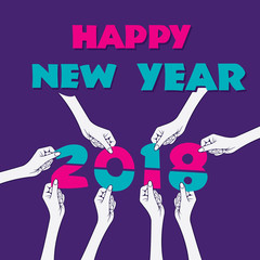 creative happy new year 2018 poster design