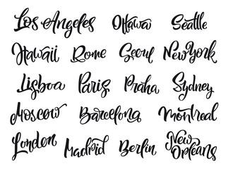Set of handwritten city names. Hand-lettering calligraphy. London, Paris, Berlin, Madrid, New York, Moscow, Barcelona, Hawaii, Lisboa, Los Angeles, Montreal,New Orleans, Praha, Rome, Seoul, Sydney etc