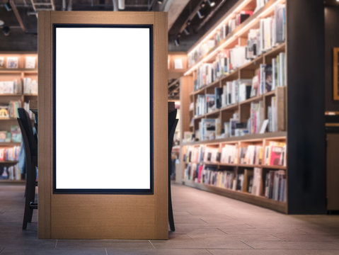 Mock up Banner Lightbox Bookstore interior Background