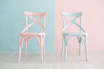 Vintage wooden chair Painted Two Tone